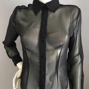 Express sheer black ladies blouse. Sz 7/8🌹